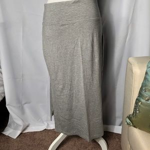 Athleta Double Side-Slit Grey Maxi Skirt